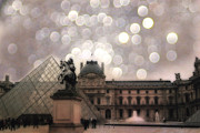 Louvre Museum Framed Prints - Paris Louvre Museum Pyramid - Dreamy Louvre Museum and Pyramids Framed Print by Kathy Fornal
