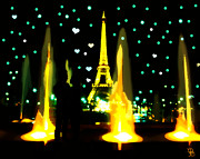 Couple Mixed Media - Paris love and lights  by Mindy Bench