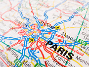 Road Map Art - Paris by Lusoimages  
