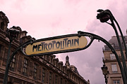 French Signs Photos - Paris Metro Photography - Paris Metropolitan Sign Art Nouveau - Paris Metro Art Deco Architecture  by Kathy Fornal