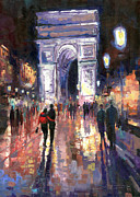 Www Prints - Paris Miting Point Arc de Triomphie Print by Yuriy  Shevchuk