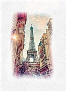 Eiffel Tower Paintings - Paris mon Amour by Mo T