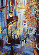 Old Painting Posters - Paris Monmartr Steps Poster by Yuriy  Shevchuk