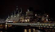 Invalids Prints - Paris Night along the Seine Print by Evie Carrier