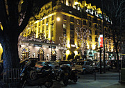 Paris Prints Photos - Paris Night Lights Street Scene Architecture and Vespas by Kathy Fornal