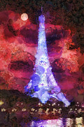 Eiffel Tower Paintings - Paris Night by Mo T