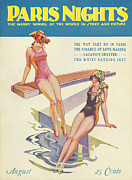 Swimsuits  Swimming Costumes Posters - Paris Nights 1928 1920s Usa Swimwear Poster by The Advertising Archives