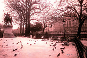 Pink Photos Framed Prints - Paris Notre Dame Cathedral Courtyard Statues Architecture Framed Print by Kathy Fornal