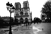 Romantic Paris Prints Prints - Paris Notre Dame Cathedral - Notre Dame Cathedral Courtyard Rainy Black and White Print by Kathy Fornal