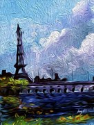 Enterprise Painting Prints - Paris On The Seine  Print by Larry Mccarter