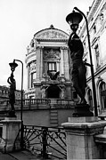 Paris Art Deco Prints Photos - Paris Opera House Statues Sculpture Art Deco Black White Photography by Kathy Fornal
