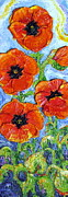 Print Of Poppy Metal Prints - Paris Orange Poppies Metal Print by Paris Wyatt Llanso