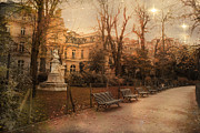 Park Benches Photo Metal Prints - Paris Parks and Gardens - Jocques Garnerin Park Sunset Starlit Park and Garden Sculpture  Metal Print by Kathy Fornal