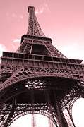 La Tour Eiffel Framed Prints - Paris Photography - Eiffel Tower Pink Photography - Looking Up From Champs Des Mars  Framed Print by Kathy Fornal