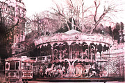 Pink Photos Prints - Paris Pink Carousel Merry Go Round- Montmartre District Sacre Coeur Print by Kathy Fornal