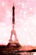 Paris Metal Prints - Paris Pink Eiffel Tower - Shabby Chic Paris Dreamy Pink Eiffel Tower With Hearts And Stars Metal Print by Kathy Fornal