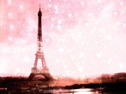 Paris Metal Prints - Paris Pink Eiffel Tower With Hearts and Stars - Paris Romantic Dreamy Pink Photographs Metal Print by Kathy Fornal