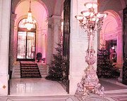 Ritz Prints - Paris Pink Hotel Holiday Interior Architecture - Paris Dreamy Posh Pink Hotel Christmas Art Deco Print by Kathy Fornal