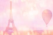 Framed Photos Prints - Paris Pink La Tour Eiffel - Dreamy Paris Pink Eiffel Tower With Pink Hot Air Balloon - Paris In Pink Print by Kathy Fornal