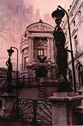 Paris Art Deco Prints Photos - Paris Pink Opera House - Opera de Garnier Statues and Sculpture Art Deco by Kathy Fornal