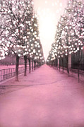 Tuileries Art - Paris Pink Twinkling Lights Trees- Tuileries by Kathy Fornal