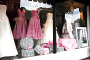 Decor Photography Posters - Paris Pink White Bridal Dress Shop Window Paris Decor Poster by Kathy Fornal