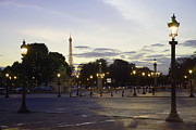 Evening Scenes Framed Prints - Paris Place de la Concorde Evening Sunset Lights with Eiffel Tower - Paris Night Lights Eiffel Tower Framed Print by Kathy Fornal