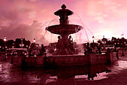 Evening Scenes Posters - Paris Place de la Concorde Fountain - Paris Dreamy Surreal Pink Night Place de la Concorde  Poster by Kathy Fornal
