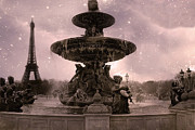 Evening Scenes Posters - Paris Place de la Concorde Fountain Square - Paris Pink Place De La Concorde Fountain Starry Night Poster by Kathy Fornal