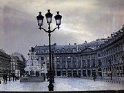 Winter Prints Photos - Paris Place Vendome Blue Street Lanterns Lamps and Architecture - Paris Dreamy Blue Photos by Kathy Fornal