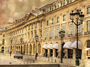 Romantic Paris Prints Prints - Paris Place Vendome Hotel Chaumet Architecture - Paris Hotel Street Lanterns - Paris Black and Gold  Print by Kathy Fornal