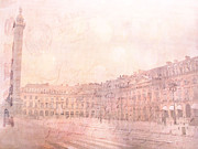French Home Prints - Paris Place Vendome Pastel Dreamy Pink Place Vendome Ritz Hotel Architecture Shopping District  Print by Kathy Fornal