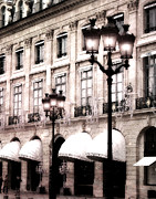Paris Photography Prints - Paris Place Vendome Street Architecture Hotel Chaumet and Paris Street Lights Lanterns Print by Kathy Fornal
