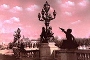 Paris Photography Prints - Paris Pont Alexandre Bridge Pink Clouds Sky Print by Kathy Fornal