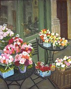 Tables Pastels Posters - Paris Posies Poster by Lynda Evans