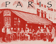European Cafes Digital Art Prints - Paris poster 2 Print by J Reifsnyder