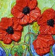 Poppy Gifts Metal Prints - Paris Red Poppies Metal Print by Paris Wyatt Llanso