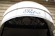 Dreamy Blue Paris Prints Prints - Paris Ritz Hotel White and Blue Canopy  Print by Kathy Fornal