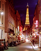 Good Luck Mixed Media Metal Prints - Paris Romantic Night Lights Metal Print by Alex Khomoutov