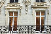 Winter Photos Posters - Paris Romantic Windows and Balconies - Winter White Paris Windows and Lace Balcony - Paris Art Deco Poster by Kathy Fornal