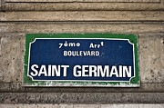 Typical Framed Prints - Paris Saint Germain Street Sign Framed Print by Georgia Fowler