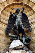 Saint Michael Photos - Paris-Saint Michael Archangel Statue Monument - St. Michael Fountain Square by Kathy Fornal