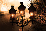 Night Scenes Prints - Paris Sepia Street Lanterns Street Lamps - Paris Sepia Twinkling Sunset Night Lanterns  Print by Kathy Fornal