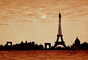 Silhouettes Painting Prints - Paris Silhouettes under Moonlight coffee painting Print by Georgeta  Blanaru