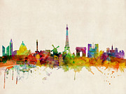 Watercolor Digital Art Posters - Paris Skyline Poster by Michael Tompsett