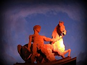 Halifax Artist John Malone Prints - Paris Statue near Eiffel Tower at Night Print by John Malone