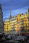 Rue Prints - Paris street at sunset Print by Elena Elisseeva