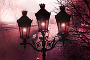 Night Scenes Prints - Paris Street Lamps - Paris Dark Rouge Rose StreetLamps Lanterns Architecture  Print by Kathy Fornal