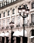 Romantic Paris Prints Prints - Paris Street Lanterns - Hotel Canopy - Chaumet Hotel Architecture Street Lamps Print by Kathy Fornal