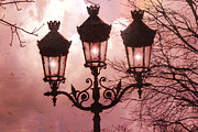 Night Scene Prints - Paris Street Lanterns - Paris Romantic Dreamy Surreal Pink Paris Street Lamps  Print by Kathy Fornal